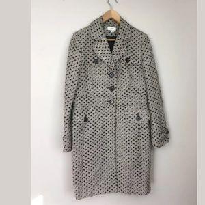 LOFT empire waist coat brown white woven pattern
